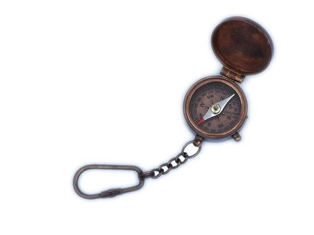 Antique Copper Compass Key Chain with Lid 5