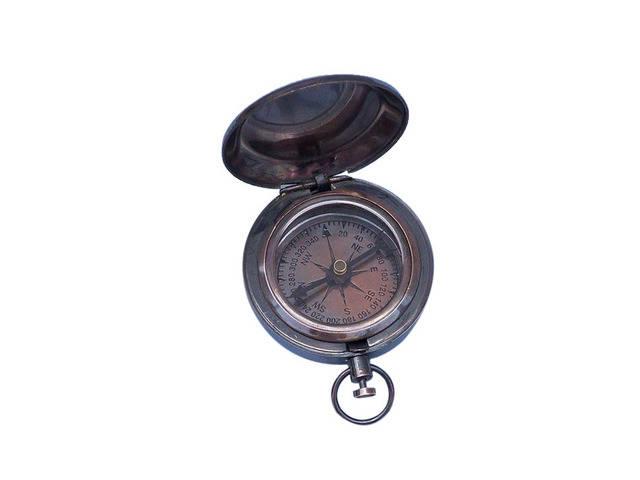 Antique Copper Scouts Push Button Compass 2