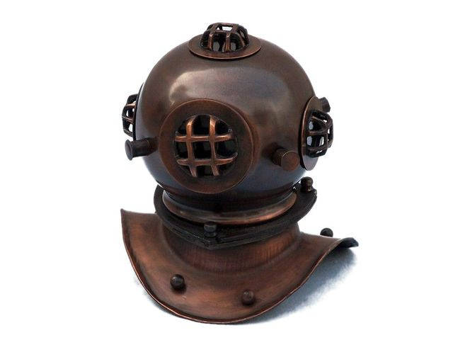 Antique Copper Decorative Divers Helmet 8