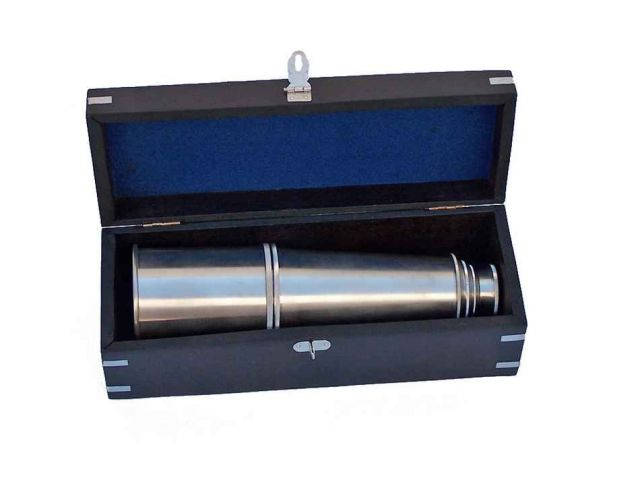 Deluxe Class Brushed Nickel Admirals Spyglass Telescope 27 with Rosewood Box