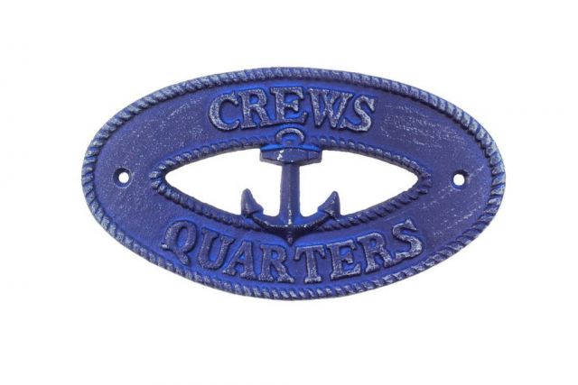 Rustic Dark Blue Cast Iron Crews Quarters with Anchor Sign 8