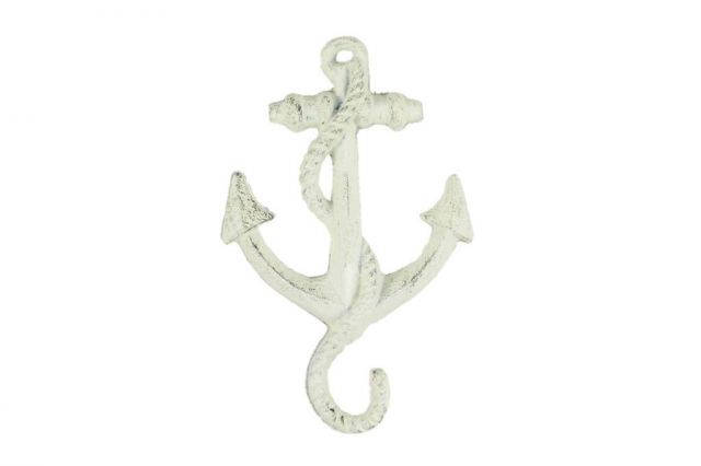 Whitewashed Cast Iron Anchor Hook 5