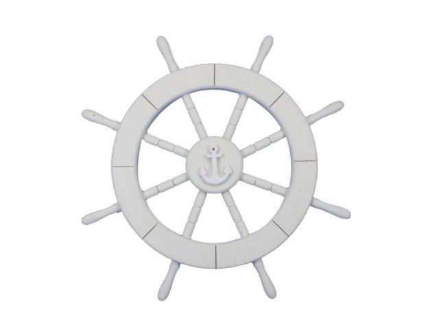 White Decorative Ship Wheel with Anchor 18