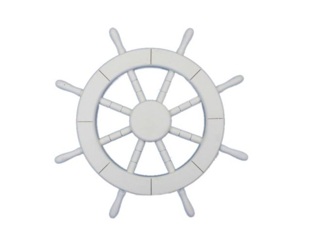White Decorative Ship Wheel 18