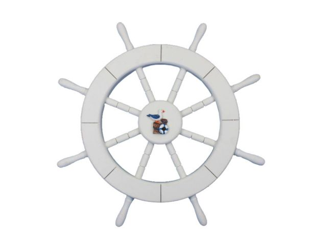White Decorative Ship Wheel with Seagull and Lifering 18