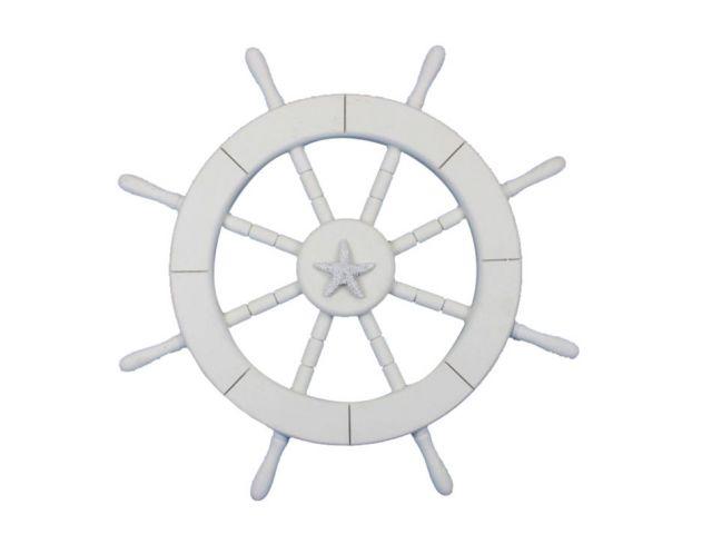Rustic White Decorative Ship Wheel with Starfish 18