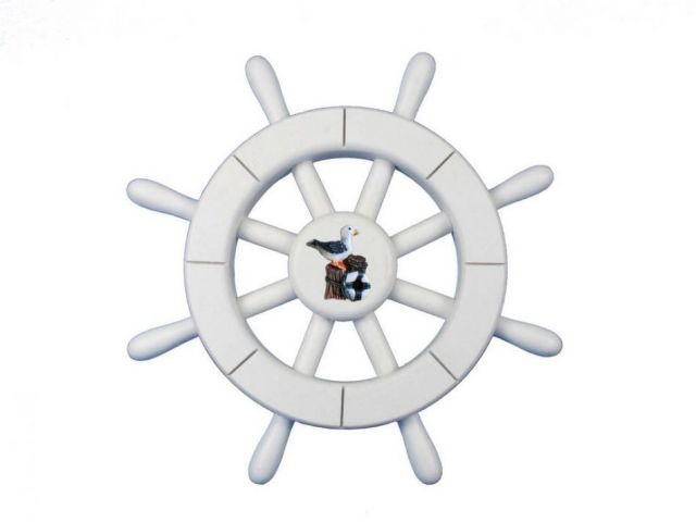 White Decorative Ship Wheel With Seagull 12