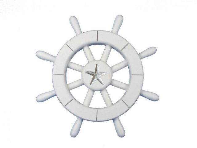 White Decorative Ship Wheel With Starfish 12