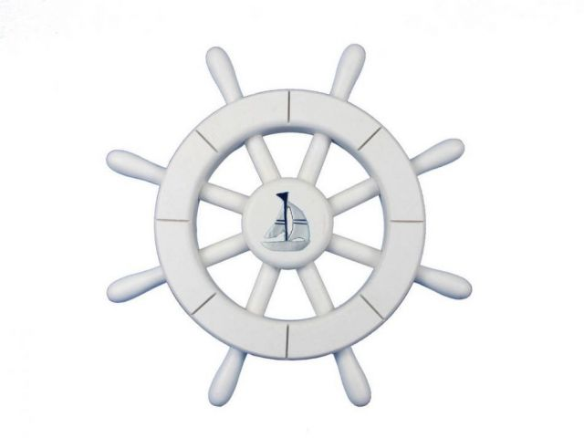 White Decorative Ship Wheel With Sailboat 12