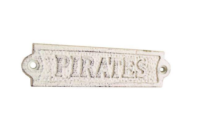 Whitewashed Cast Iron Pirates Sign 6