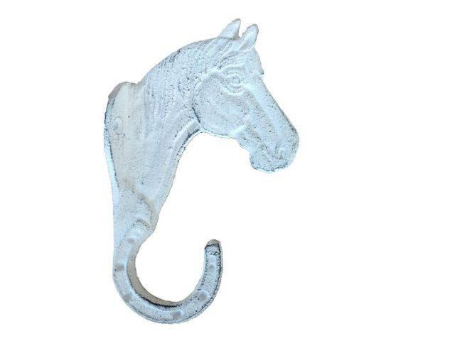 Whitewashed Cast Iron Horse Hook 8