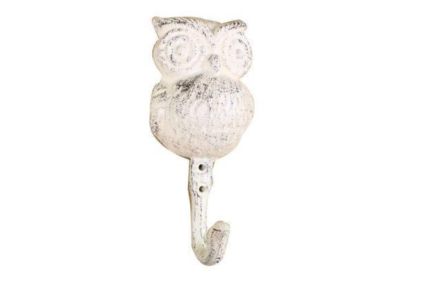 Whitewashed Cast Iron Owl Wall Hook 6