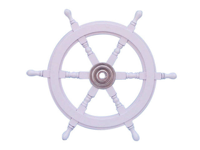 Deluxe Class White Wood and Chrome Ship Decorative Steering Wheel 24