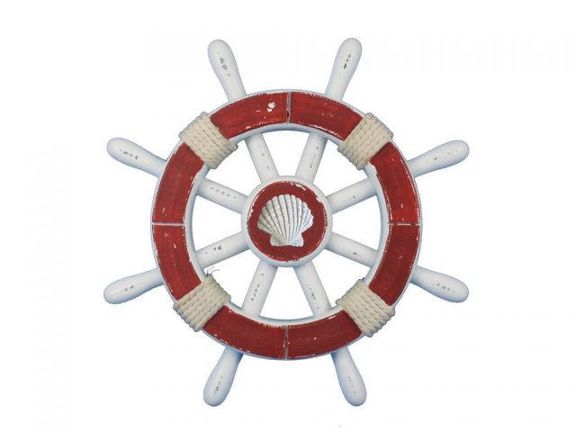 Rustic Red And White Decorative Ship Wheel With Seashell 12