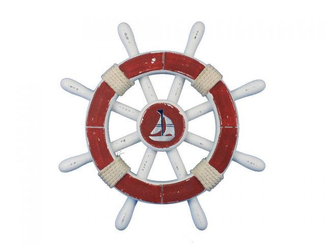 Rustic Red And White Decorative Ship Wheel With Sailboat 12