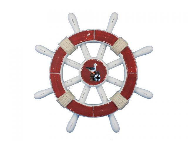 Rustic Red And White Decorative Ship Wheel With Seagull 12