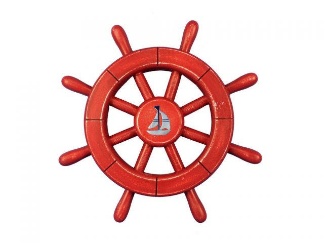 Rustic All Red Decorative Ship Wheel With Sailboat 12