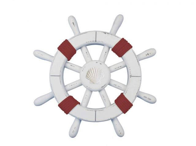 Rustic White Decorative Ship Wheel with Red Rope and Seashell 12