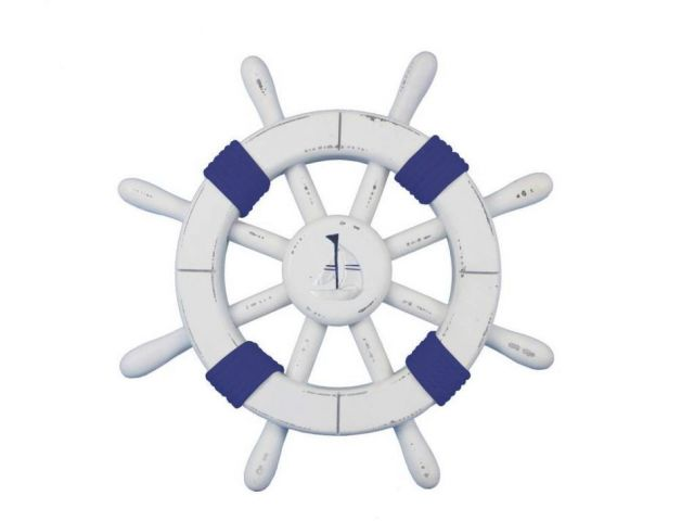 Rustic White Decorative Ship Wheel with Dark Blue Rope and Sailboat 12