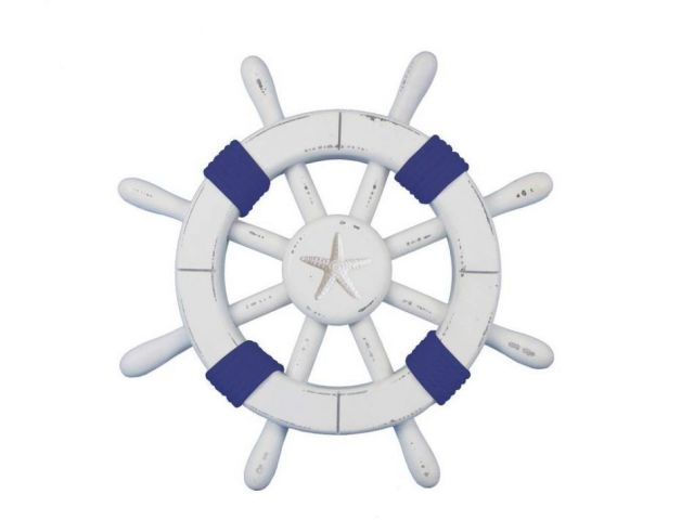 Rustic White Decorative Ship Wheel with Dark Blue Rope and Starfish 12