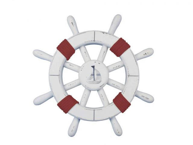Rustic White Decorative Ship Wheel with Red Rope and sailboat 12
