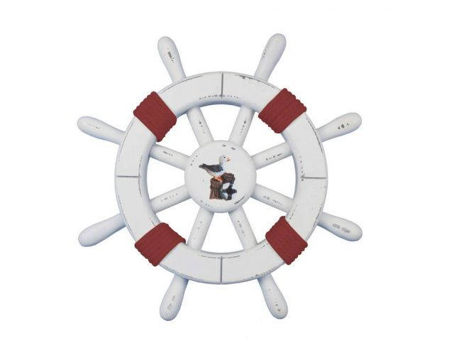 Rustic White Decorative Ship Wheel with Red Rope and seagull 12