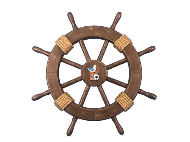 Rustic Wood Finish Decorative Ship Wheel with Seagull and Lifering 18