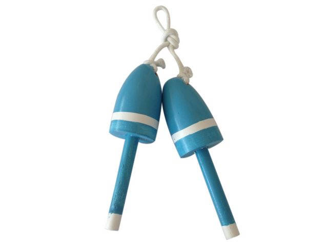 Set of 2 - Wooden Light Blue Decorative Maine Lobster Trap Buoy 7