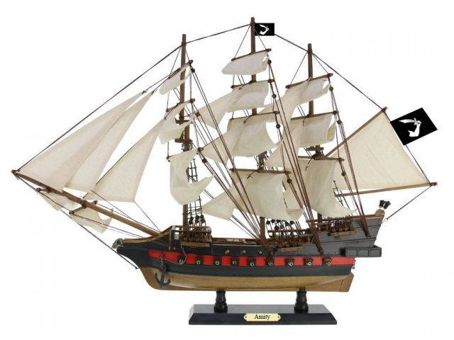 Wooden Thomas Tewandapos;s Amity White Sails Limited Model Pirate Ship 26