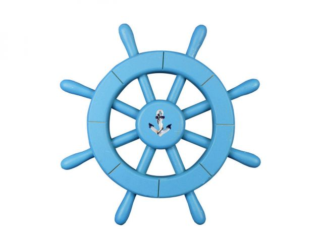 Light Blue Decorative Ship Wheel with Anchor 12