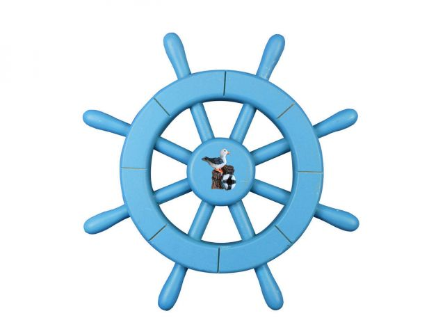 Light Blue Decorative Ship Wheel with Pelican 12
