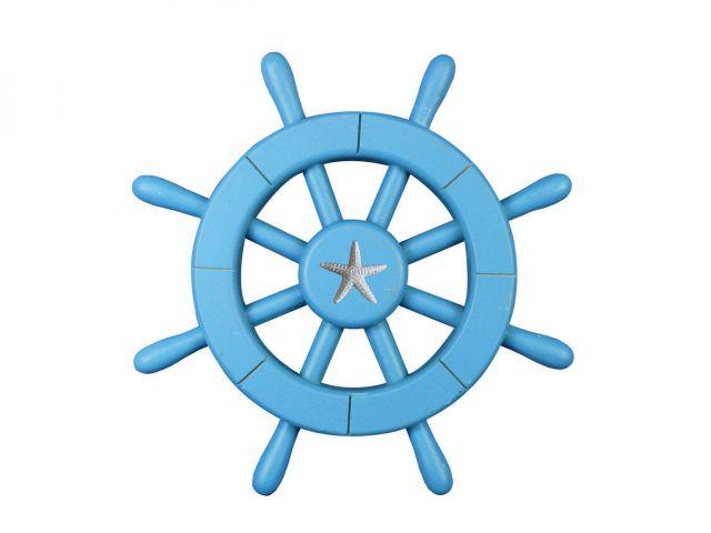Light Blue Decorative Ship Wheel with Starfish 12