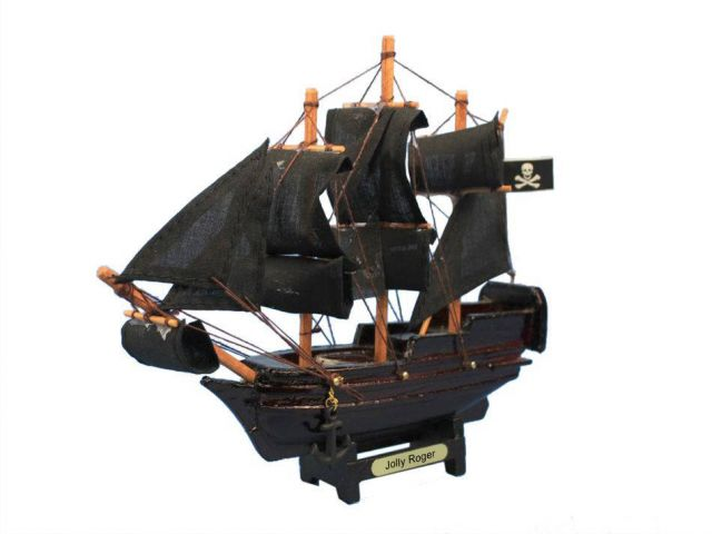 Wooden Captain Hooks Jolly Roger Model Pirate Ship from Peter Pan Christmas Ornament 7