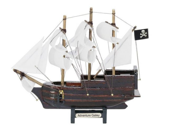 Wooden Captain Kidds Adventure Galley Model Pirate Ship with White Sails Christmas Ornament 7