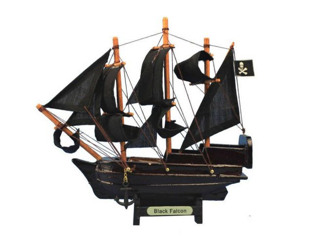 Wooden Captain Kidds Black Falcon Model Pirate Ship Christmas Ornament 7