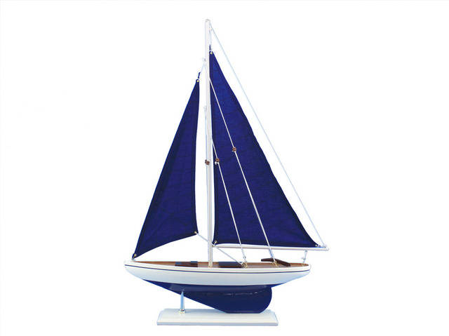 Wooden Blue Pacific Sailer with Blue Sails Model Sailboat Decoration 25