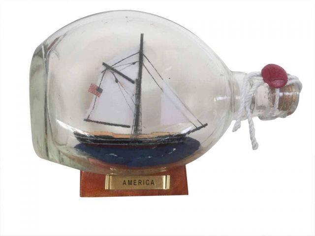 America Sailboat in a Glass Bottle 7