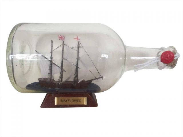 Mayflower Model Ship in a Glass Bottle  9