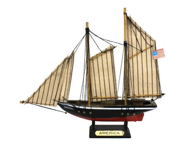 Wooden America Model Sailboat Decoration 7