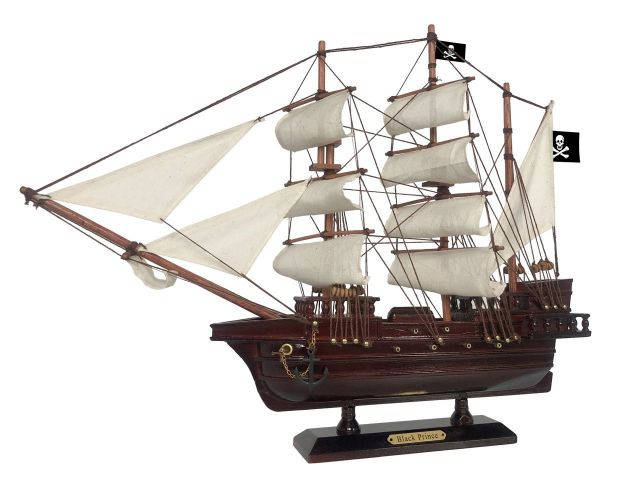 Wooden Ben Franklins Black Prince White Sails Pirate Ship Model 20