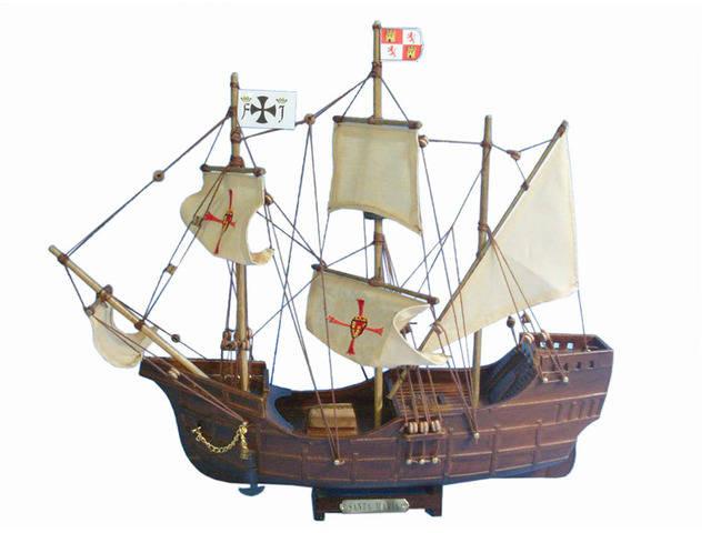 Wooden Santa Maria Tall Model Ship 14
