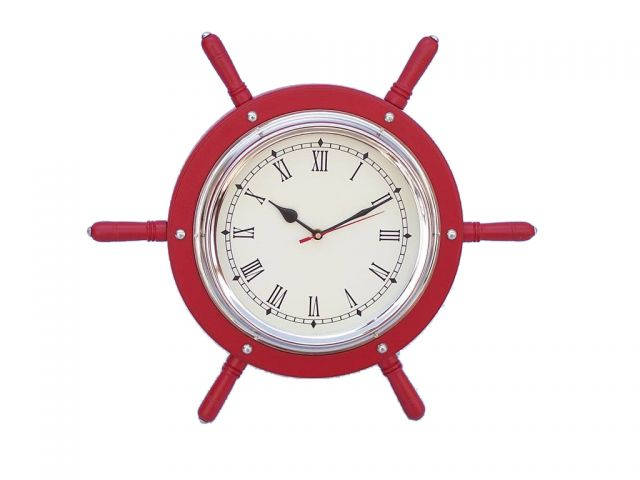 Wooden Red and Chrome Ship Wheel Clock 15
