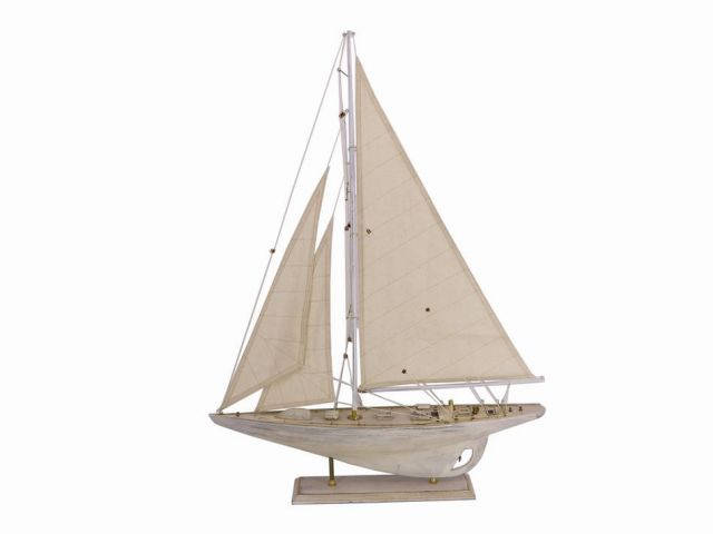 Wooden Rustic Whitewashed Pacific Sailer Model Sailboat Decoration 35