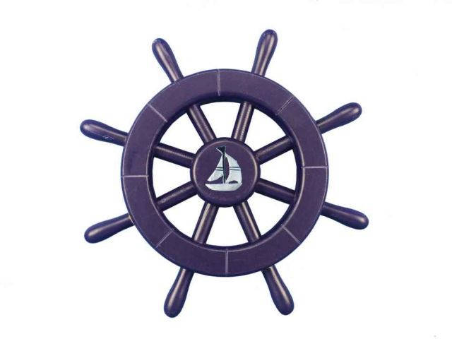 Dark Blue Decorative Ship Wheel With Sailboat 12