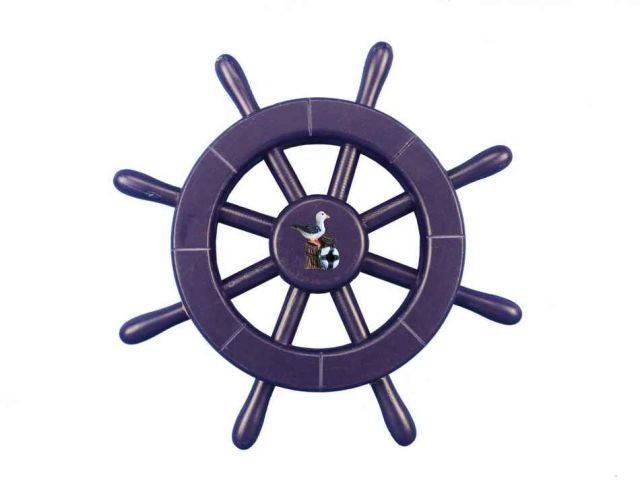 Dark Blue Decorative Ship Wheel With Seagull 12