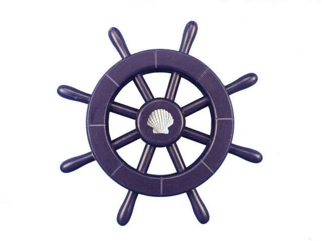 Dark Blue Decorative Ship Wheel With Seashell 12