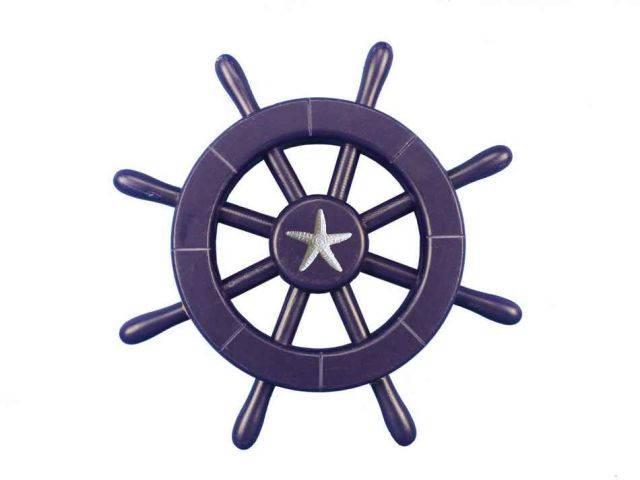Dark Blue Decorative Ship Wheel With Starfish 12