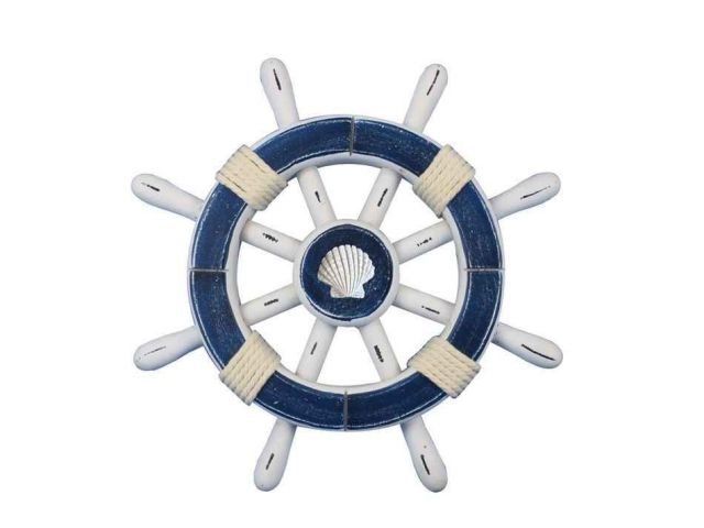 Rustic Dark Blue And White Decorative Ship Wheel With Seashell 12
