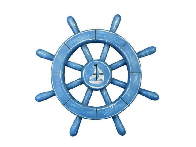 Rustic All Light Blue Decorative Ship Wheel With Sailboat 12