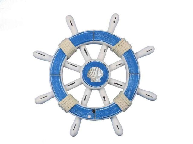 Rustic Light Blue And White Decorative Ship Wheel With Seashell 12